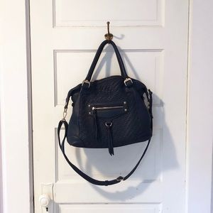 Melie Bianco Dark Blue Vegan Leather Tote Bag